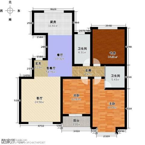 东方世纪城3室1厅2卫0厨133.00㎡户型图
