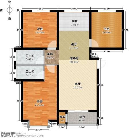 东方世纪城3室1厅2卫0厨131.00㎡户型图