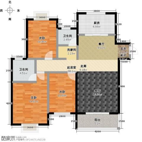 金猴北城名居3室0厅2卫1厨131.00㎡户型图