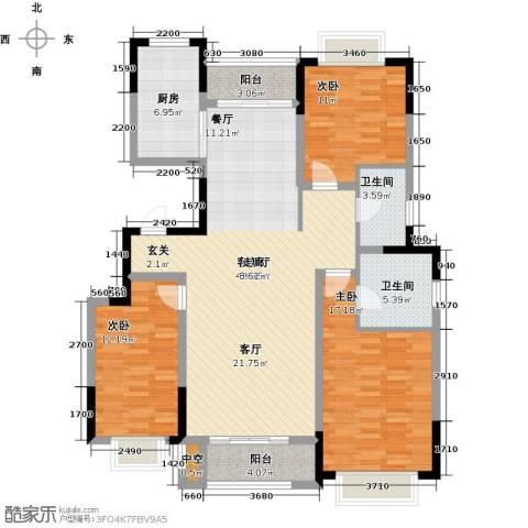 中惠卡丽兰3室1厅2卫1厨123.00㎡户型图