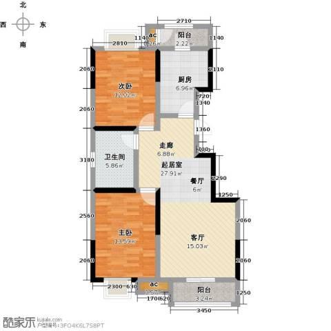 融科金月湾2室0厅1卫1厨97.00㎡户型图