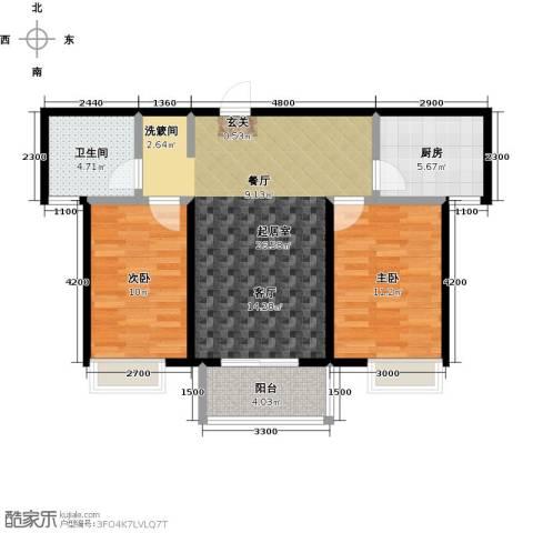 金猴北城名居2室0厅1卫1厨88.00㎡户型图