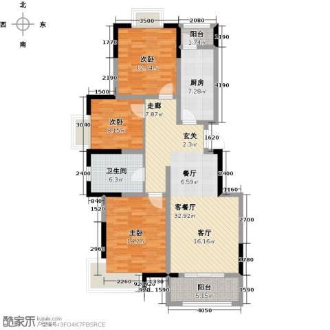 中惠卡丽兰3室1厅1卫1厨101.00㎡户型图