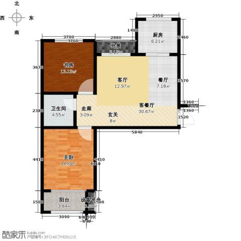 水晶东座2室1厅1卫1厨84.00㎡户型图