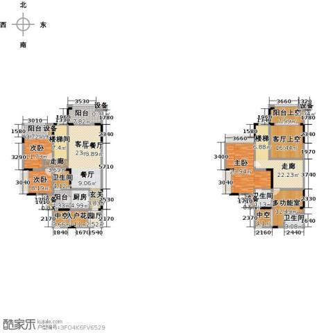 绿城上岛3室1厅3卫1厨196.17㎡户型图