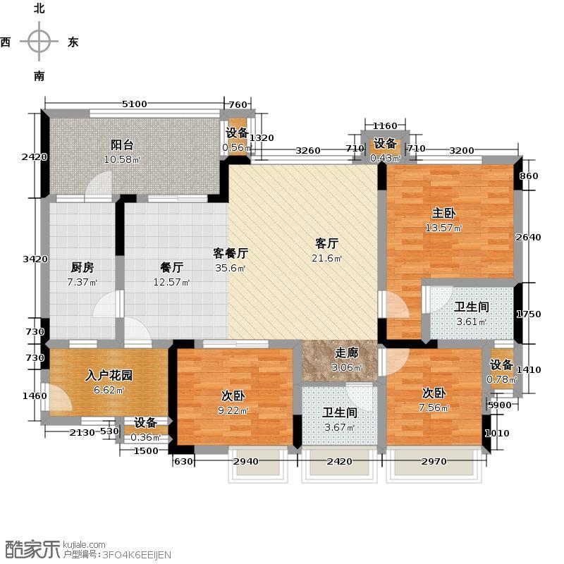 绿城上岛105.57㎡3号楼B-2户型3室2厅2卫 套内105.57㎡户型3室2厅2卫