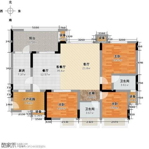 绿城上岛3室1厅2卫1厨106.00㎡户型图