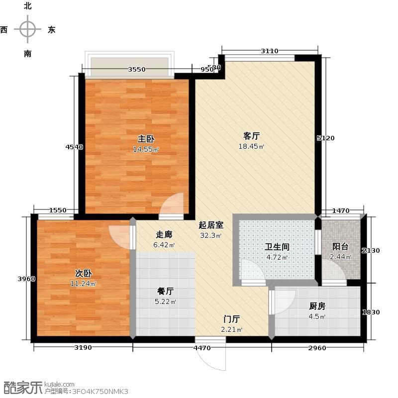 银海新城户型2室1卫1厨