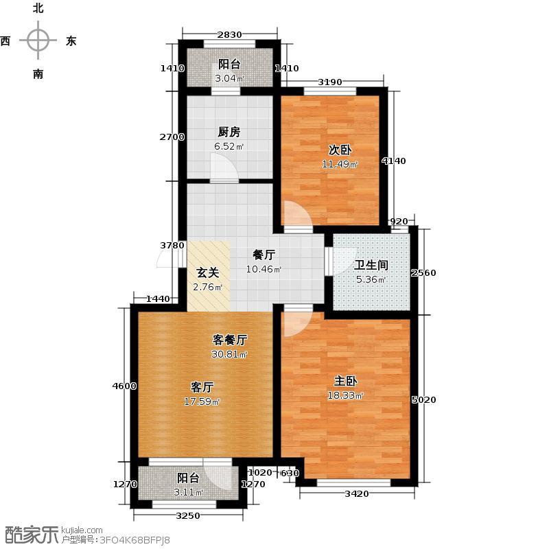 津北湾户型2室1厅1卫1厨