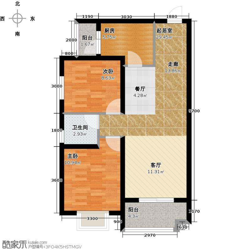 汉城湖一号83.95㎡B5c户型图 2室2厅1卫1厨户型