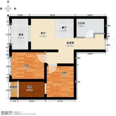 高新大都荟3室0厅1卫1厨68.00㎡户型图