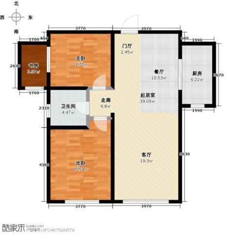 银海新城3室0厅1卫1厨111.00㎡户型图