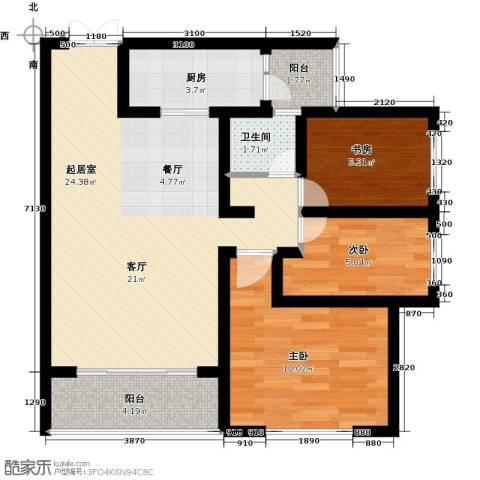 香榭兰廷3室0厅1卫1厨102.00㎡户型图