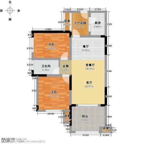 绿城上岛2室1厅1卫1厨84.00㎡户型图