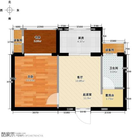 高新大都荟2室0厅1卫1厨47.00㎡户型图