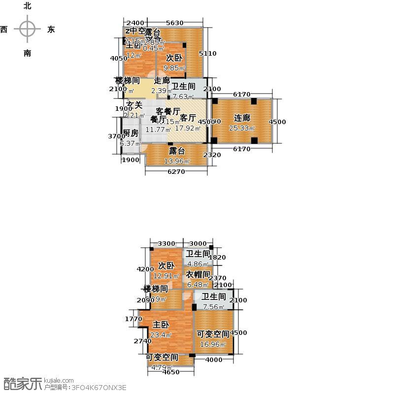 远大林语城别墅F户型4室1厅3卫1厨