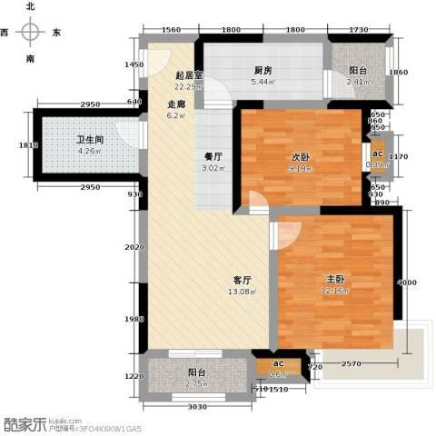 融科金月湾2室0厅1卫1厨88.00㎡户型图