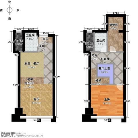 喜年中心1室1厅2卫0厨58.00㎡户型图