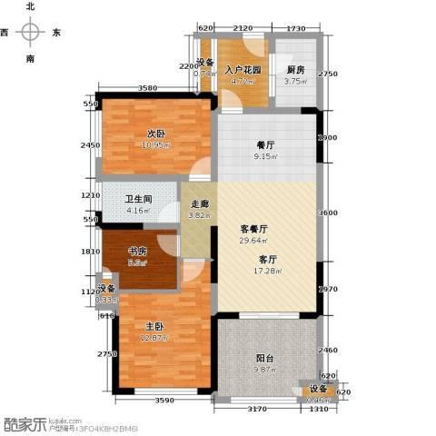 绿城上岛3室1厅1卫1厨92.00㎡户型图