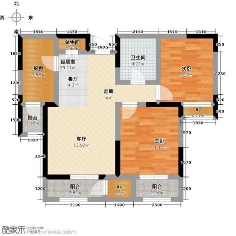 融科金月湾2室0厅1卫1厨85.00㎡户型图