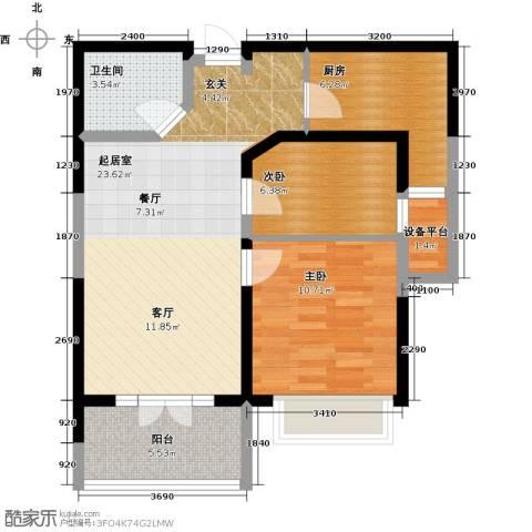 星耀五洲2室0厅1卫1厨78.00㎡户型图