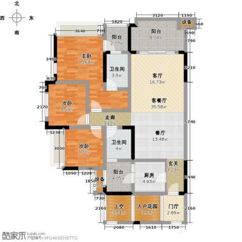 绿城上岛3室1厅2卫1厨106.42㎡户型图