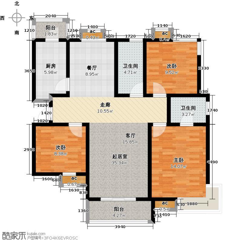 路劲御景城三室两厅两卫135平米户型3室2厅2卫
