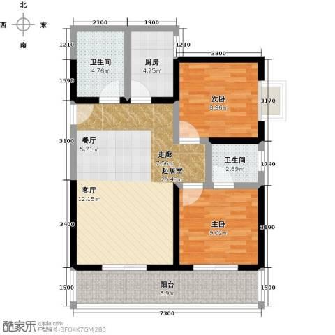 格兰逸境2室0厅2卫1厨94.00㎡户型图