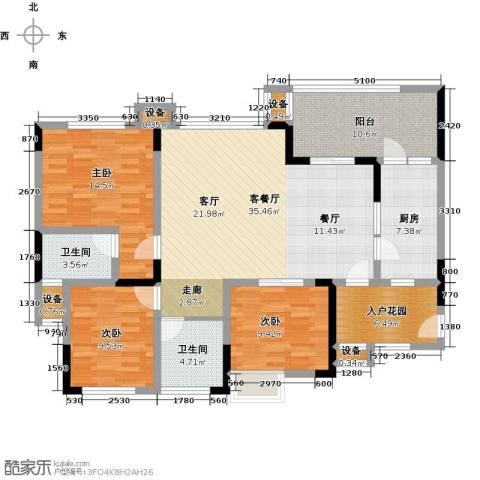 绿城上岛3室1厅2卫1厨119.00㎡户型图