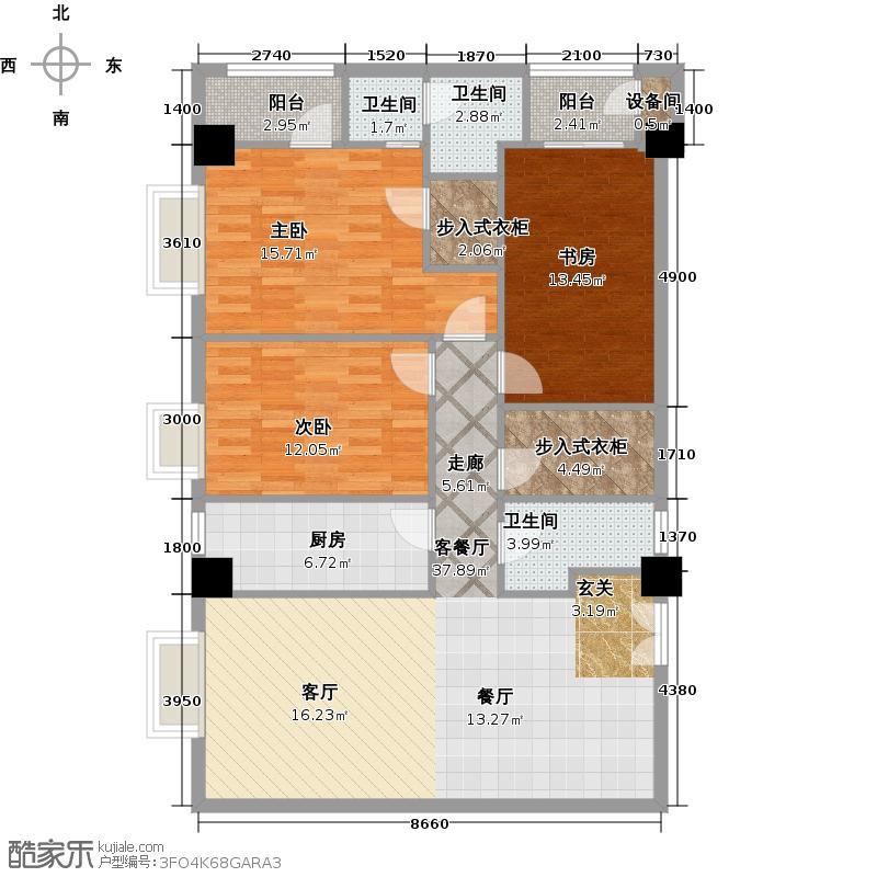 领汇乐城168.08㎡H副本 3室2厅2卫1厨户型