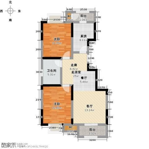 融科金月湾2室0厅1卫1厨96.00㎡户型图