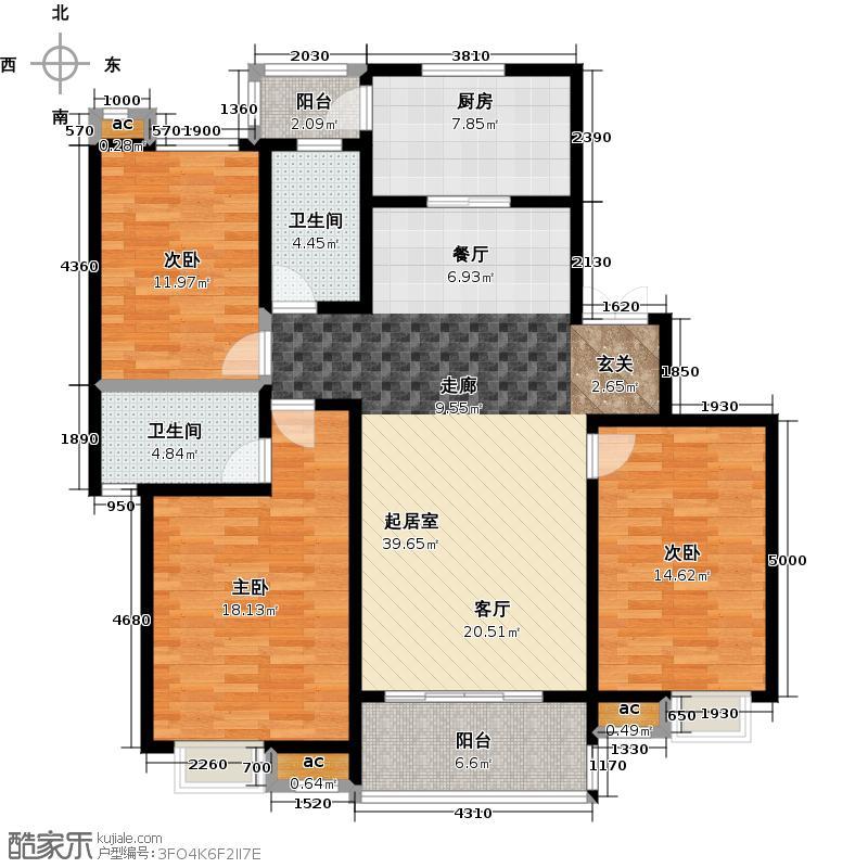 路劲御景城三室两厅两卫145平米户型3室2厅2卫