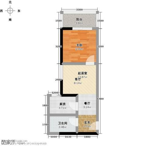 格兰逸境1室0厅1卫1厨51.00㎡户型图