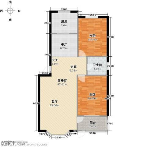 欧韵华庭2室1厅1卫1厨105.00㎡户型图