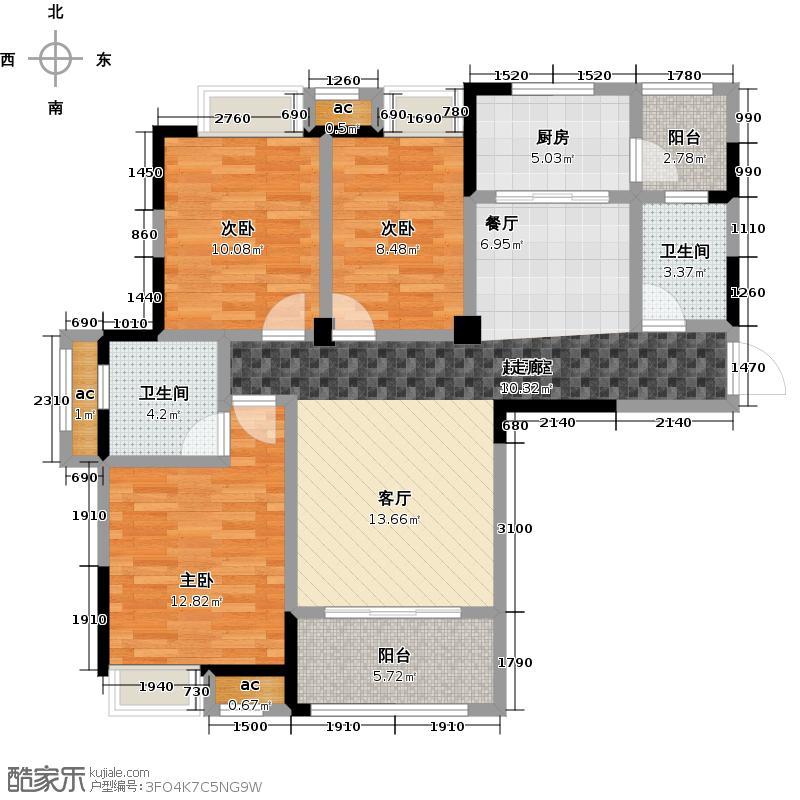 三潭音悦112.00㎡B1户型图 三房两厅两卫户型3室2厅2卫