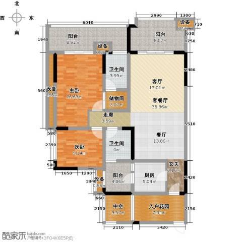 绿城上岛2室1厅2卫1厨112.36㎡户型图