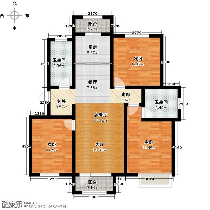 津北湾121.60㎡津北湾121.60㎡3室1厅2卫户型3室1厅2卫