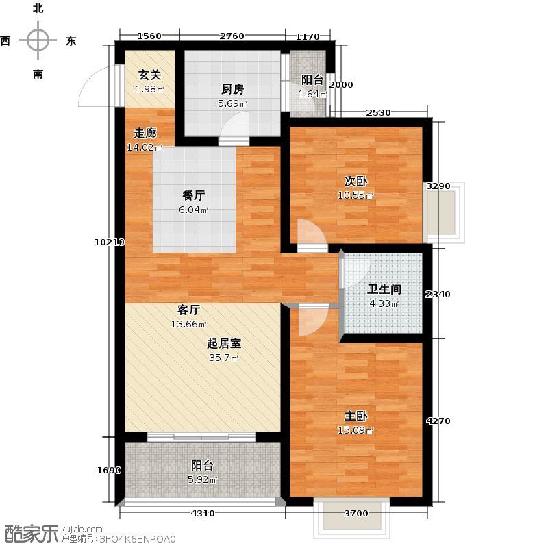 金色环海90.31㎡二居01户型2室1厅1卫