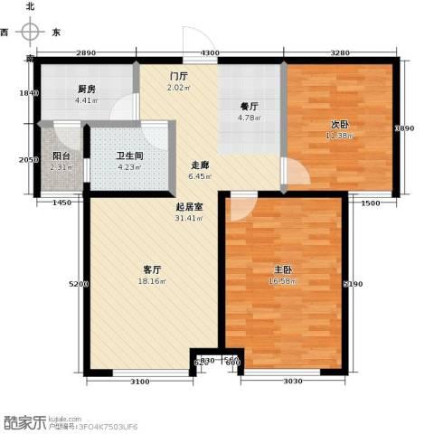 银海新城2室0厅1卫1厨99.00㎡户型图