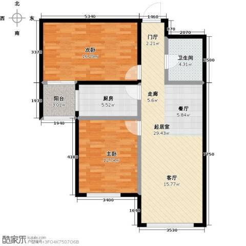 银海新城2室0厅1卫1厨100.00㎡户型图