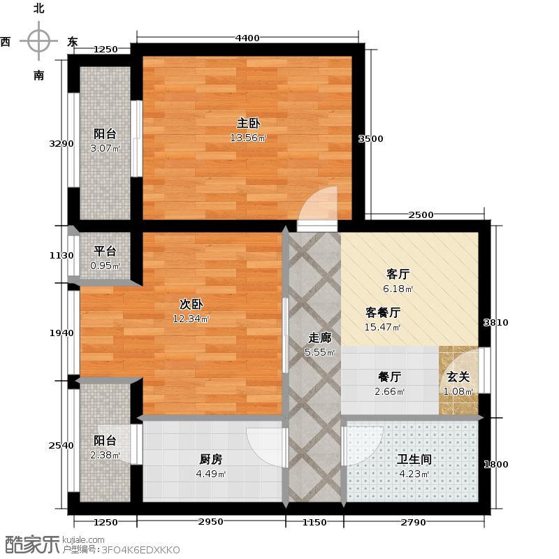华远汤米公馆78.00㎡F户型 2室1厅1卫户型