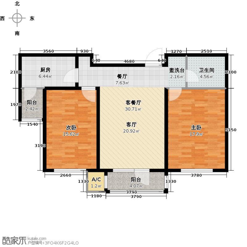 渤海天易园92.69㎡11层到顶02户型2室1厅1卫