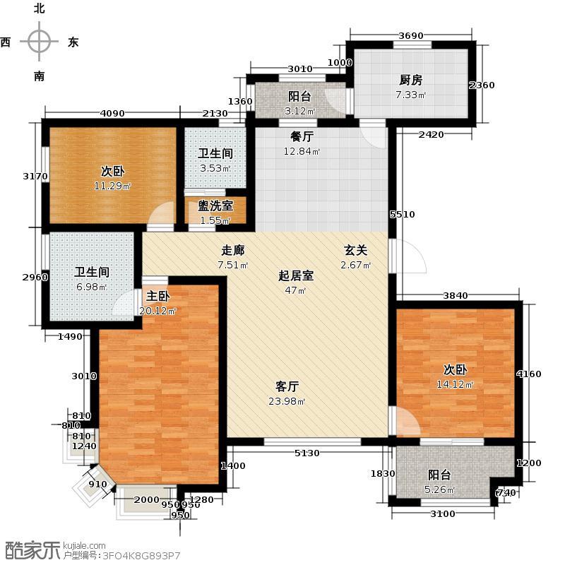 紫薇壹㎡137.45㎡E1户型 三室两厅两卫 137.45㎡户型3室2厅2卫