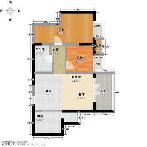 星耀五洲2室0厅1卫1厨77.00㎡户型图