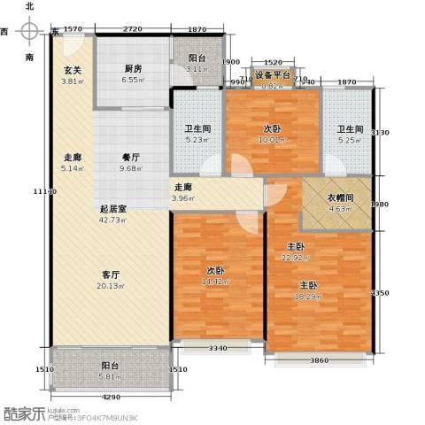 恒大中心3室0厅2卫1厨157.00㎡户型图