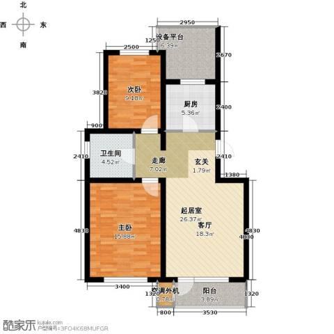 首创福特纳湾2室0厅1卫1厨87.00㎡户型图