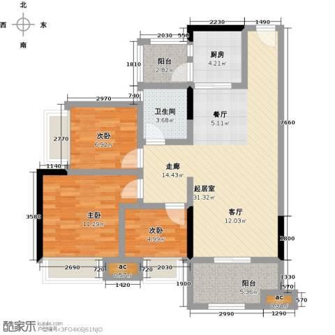 丽景名筑3室0厅1卫1厨89.00㎡户型图
