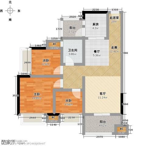 丽景名筑3室0厅1卫1厨90.00㎡户型图