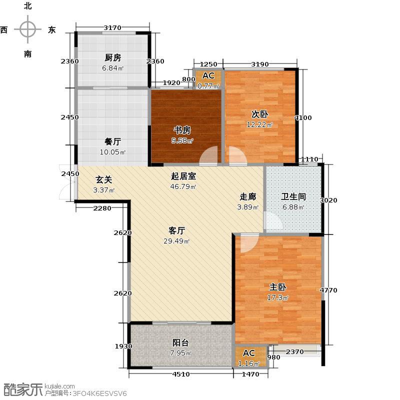 绿洲白马公馆117.02㎡D户型3室2厅1卫