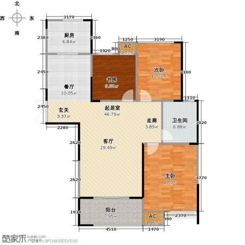 绿洲白马公馆3室0厅1卫1厨117.00㎡户型图